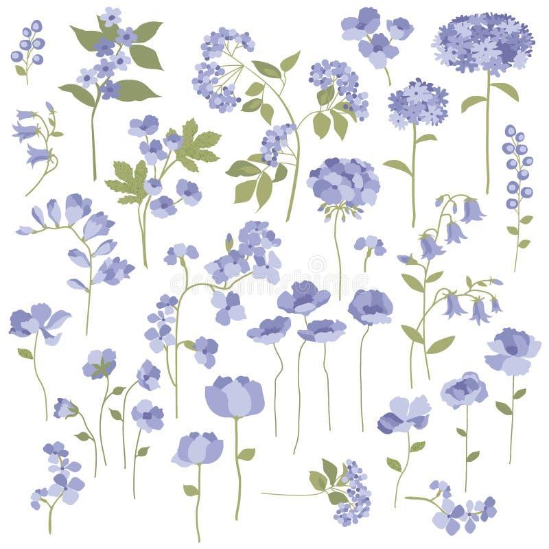 Hand drog blommor vektor illustrationer