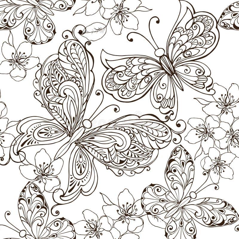 Hand drog blommor och fjärilar för anti-spänningsfärgläggningsidan Blom- sömlös prydnad med fjärilar royaltyfri illustrationer