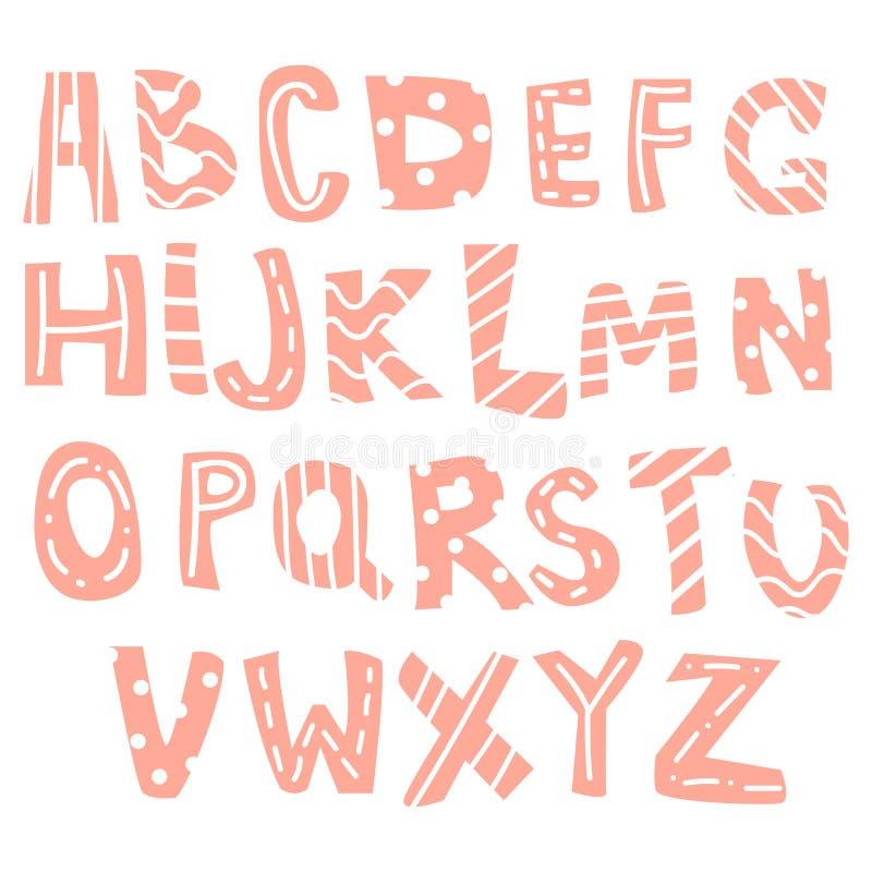 Hand-drog bokstäver, engelskt alfabet för barn, ungar royaltyfri illustrationer