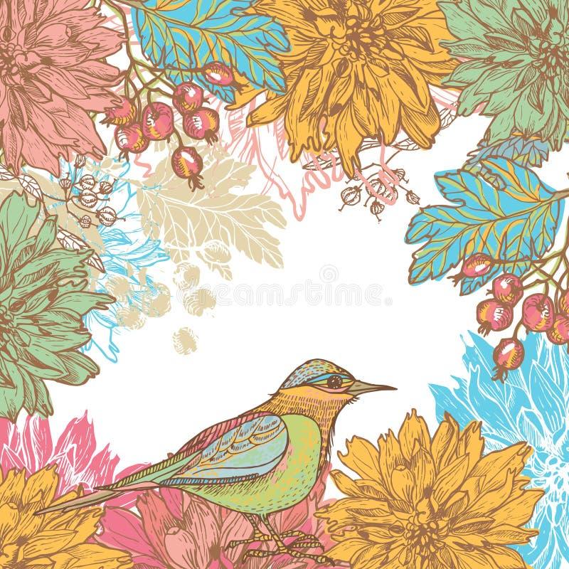 Hand drog dahliablommor och retro kort för fågel royaltyfri illustrationer