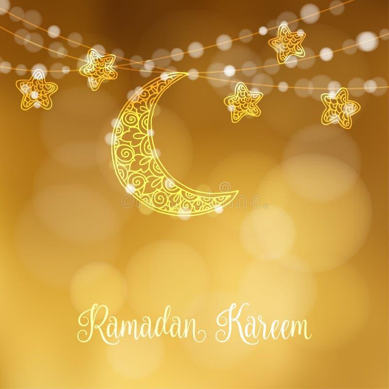 Hand drog dekorativa måne och stjärnor Festlig garnering, rad av att blänka ljus Modernt festligt dekorativt suddigt vektor illustrationer
