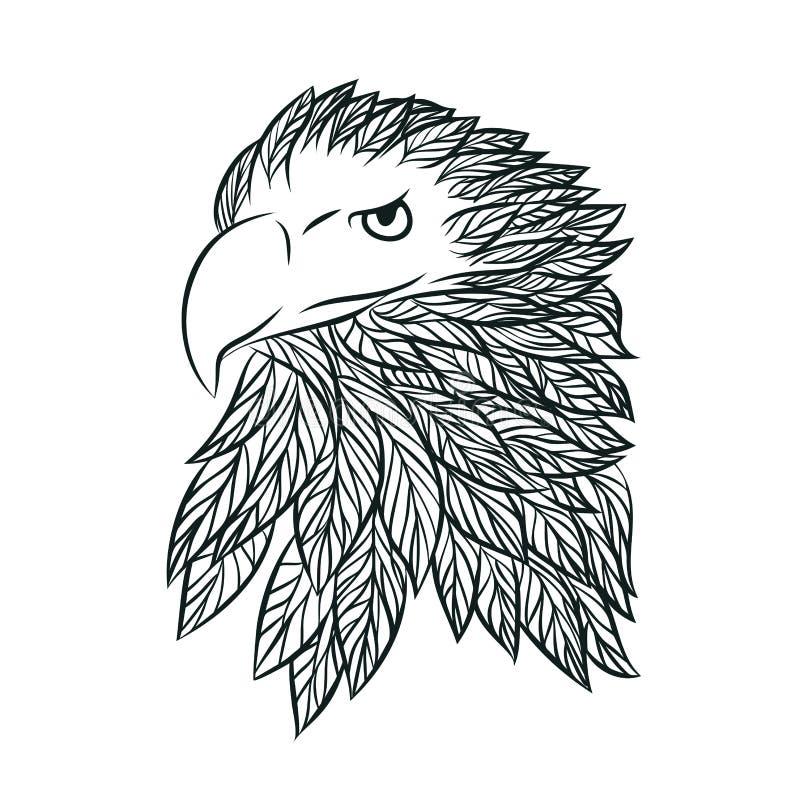 Hand drog Eagle Vector royaltyfri illustrationer
