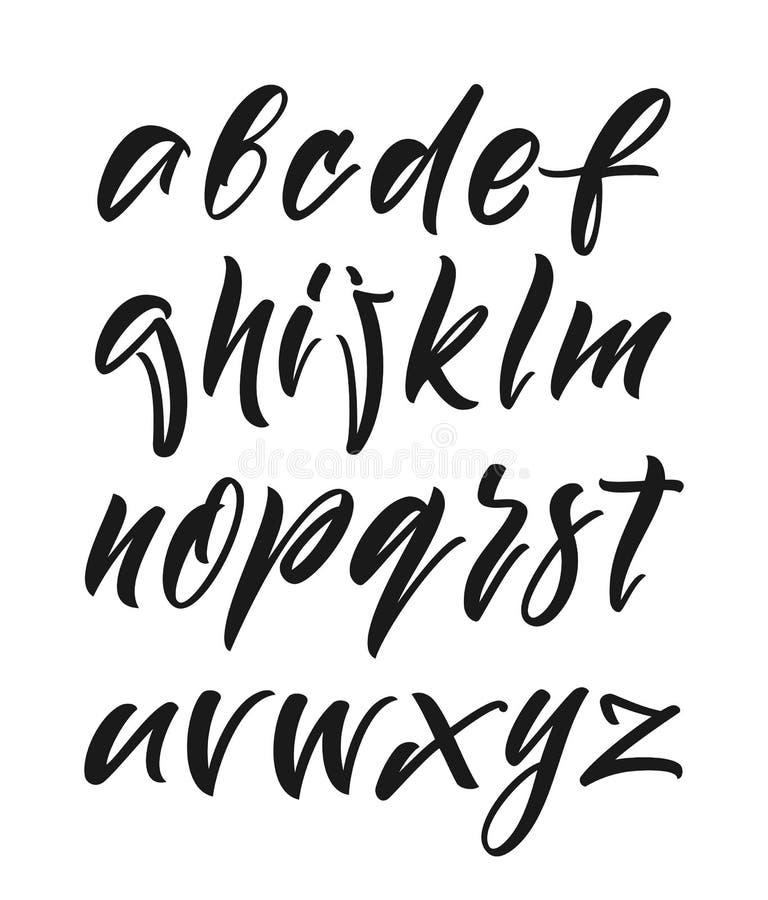 Hand drog engelska calligraphic alfabetbokstäver på vit bakgrund royaltyfri illustrationer