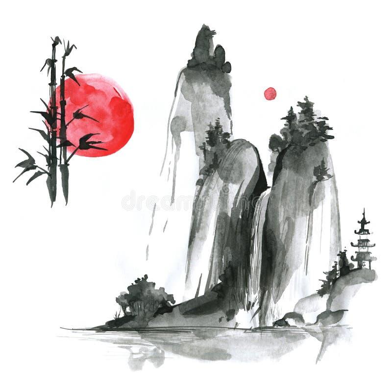 Hand drog färgpulversumi-ebeståndsdelar: landskype sol, bambu Japan tr royaltyfri illustrationer