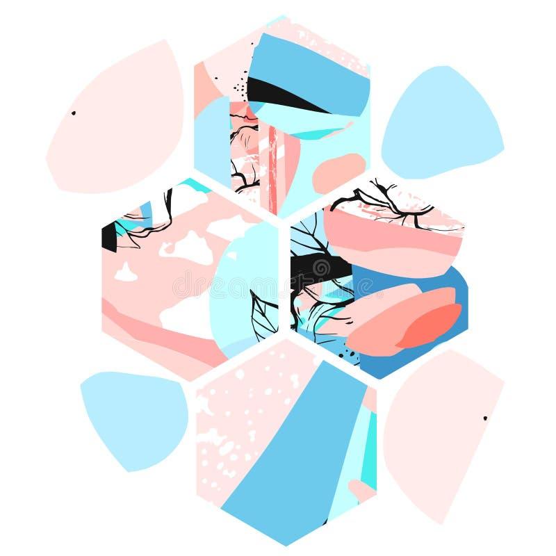 Hand drog för sammansättningswitth för vektor konstnärlig universal texturerade abstrakta former för sexhörning, hand - gjorda te stock illustrationer