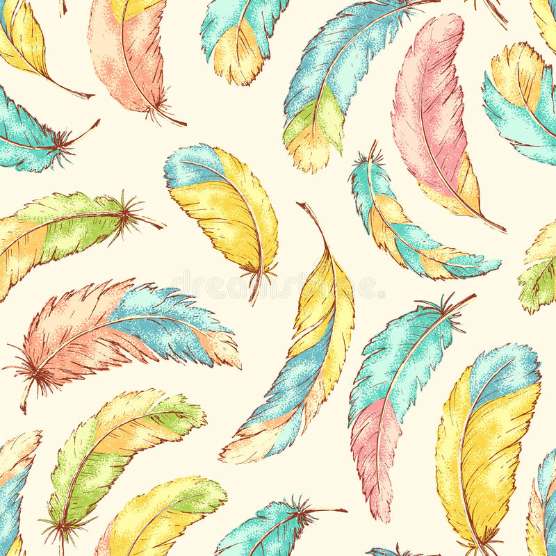 Hand drog fjädrar vektor illustrationer