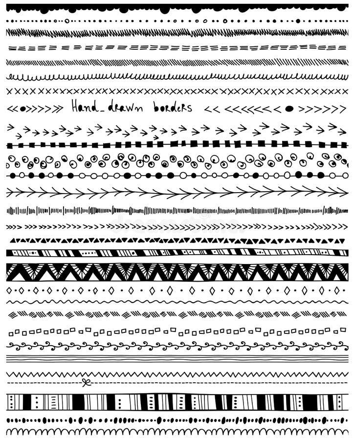Hand - drog gränser royaltyfri illustrationer