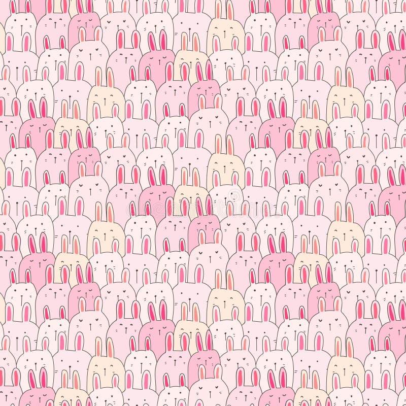 Hand drog gulliga Bunny Vector Pattern Background Roligt klotter royaltyfri illustrationer