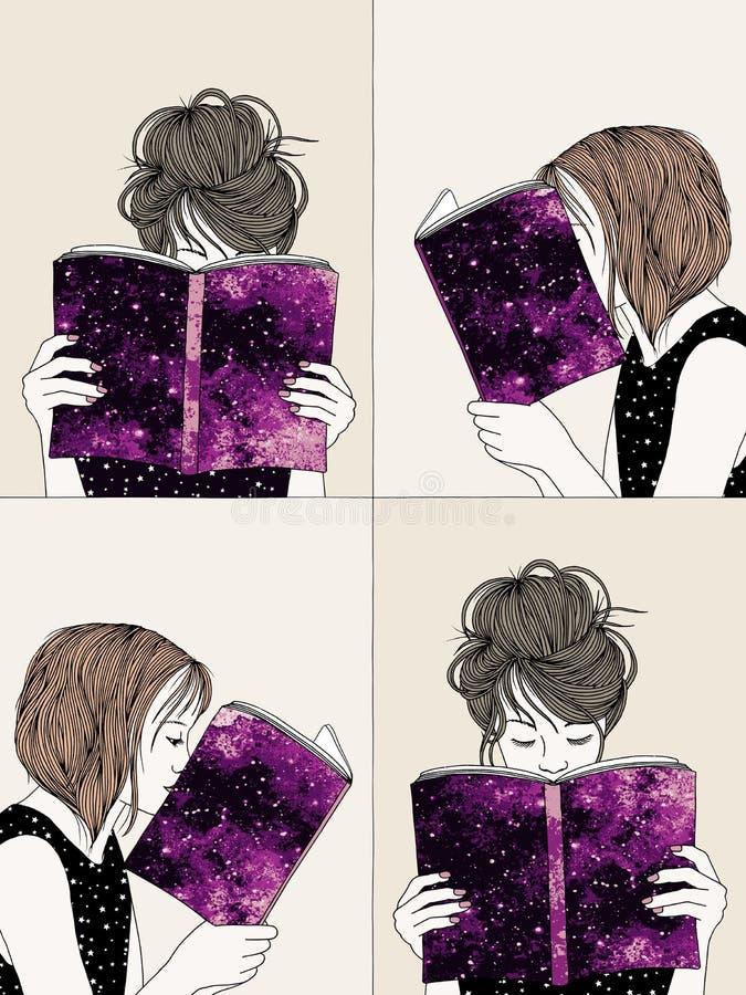 Hand drog illustrationer av att läsa för flickor vektor illustrationer