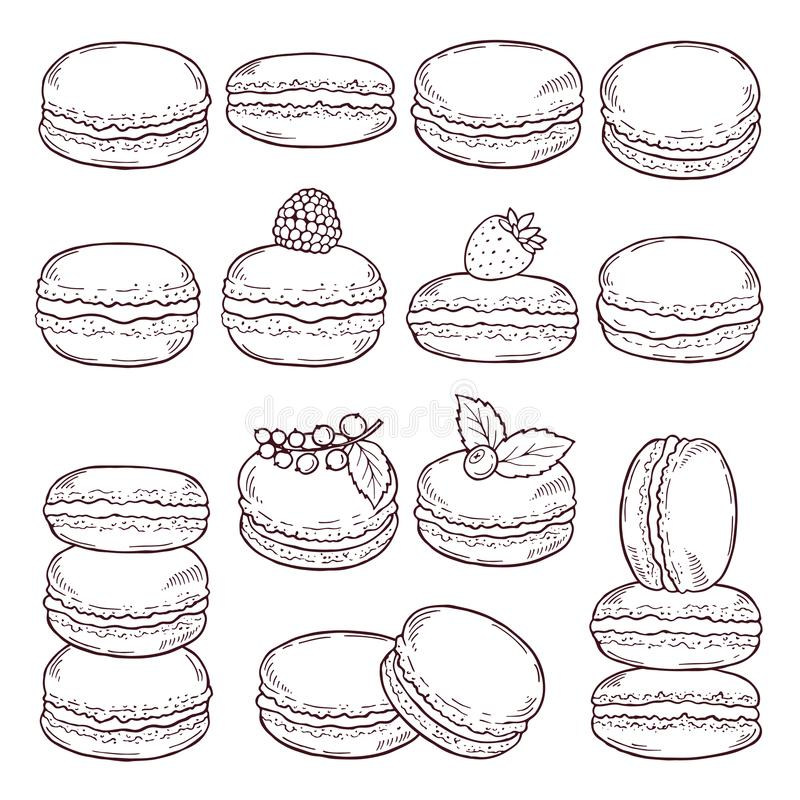 Hand drog illustrationer av paris kokkonst Läckra makron med olika smaker vektor illustrationer