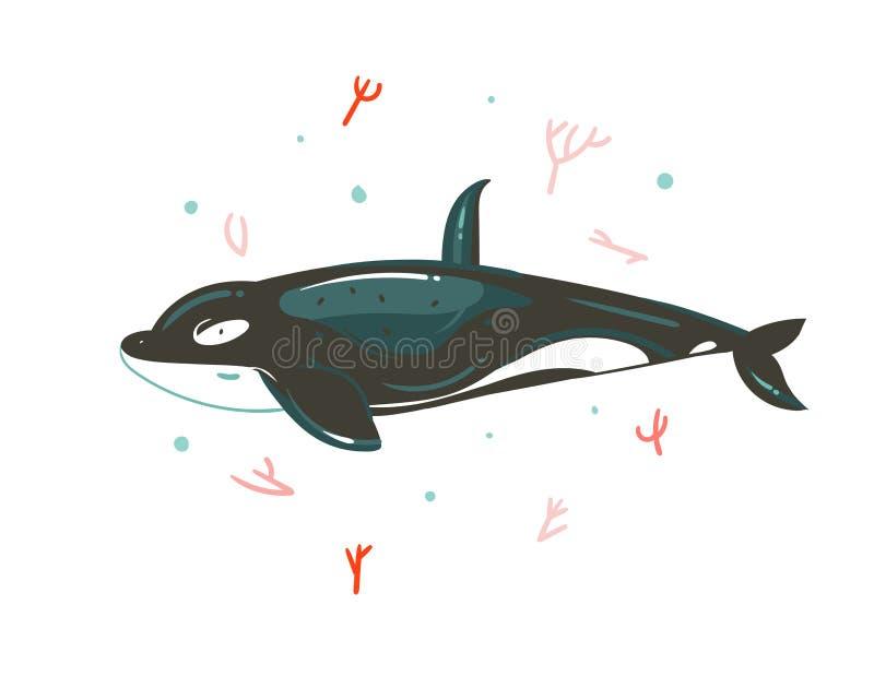 Hand drog illustrationer för tid för sommar för vektorabstrakt begrepptecknad film grafiska undervattens- med korallrever och den stock illustrationer