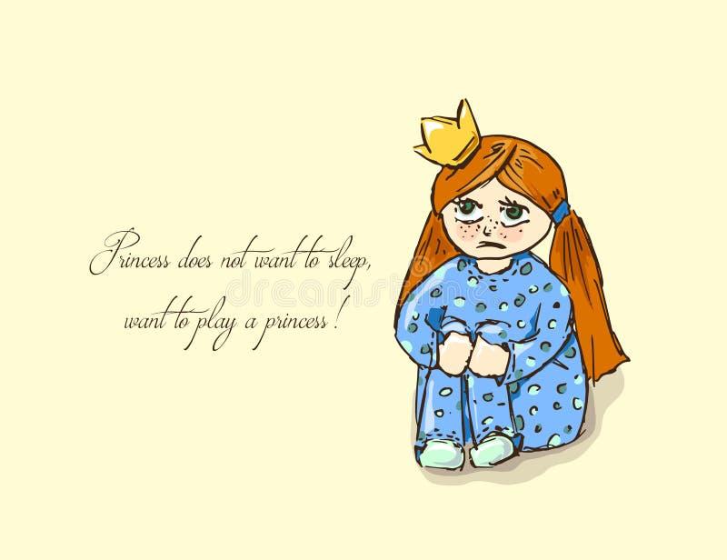 hand-drog illustrationer Kort med en prinsessa Rödhårig flicka i pyjamas Prinsessan önskar inte att sova, önskar att spela vektor illustrationer
