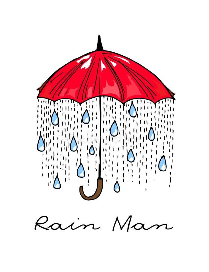 hand-drog illustrationer Regn under ett rött paraply Vykortregnman royaltyfri illustrationer
