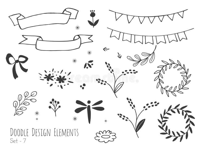 Hand drog isolerade klotterdesignbeståndsdelar stock illustrationer