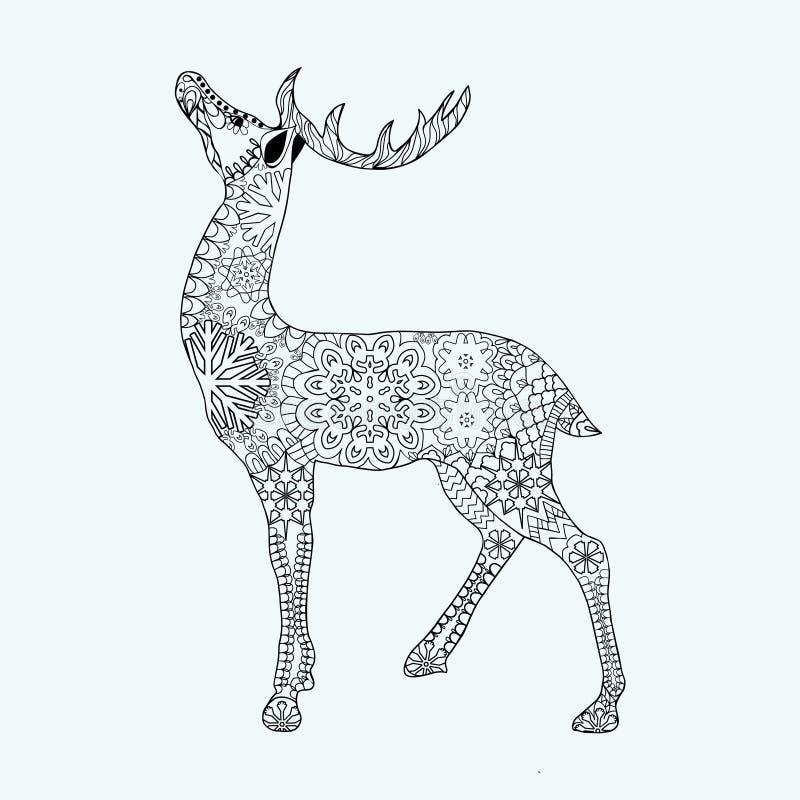 Hand drog julhjortar på vit bakgrund royaltyfri illustrationer