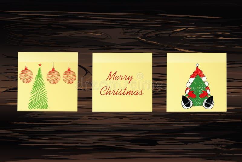 Hand-drog julträd och Santa Claus och röda bollar på tre gula klistermärkear greeting lyckligt nytt år för 2007 kort Vektor på tr royaltyfri illustrationer