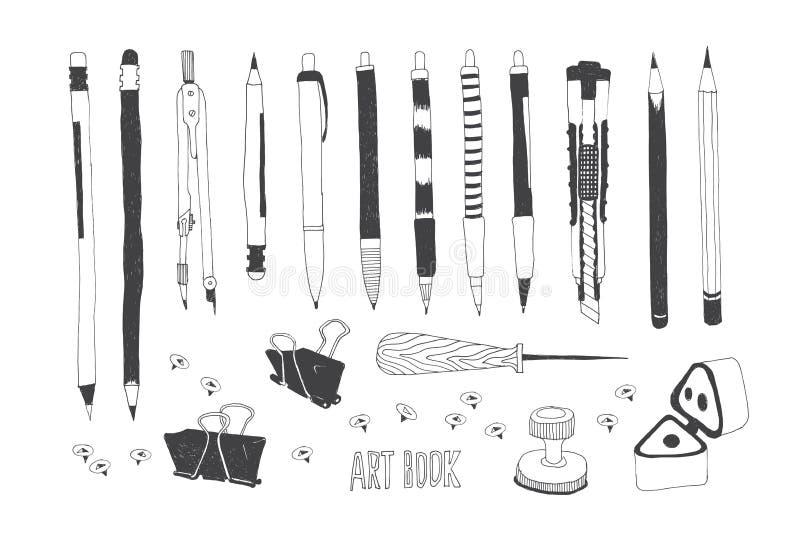 Hand drog konsthjälpmedel stock illustrationer