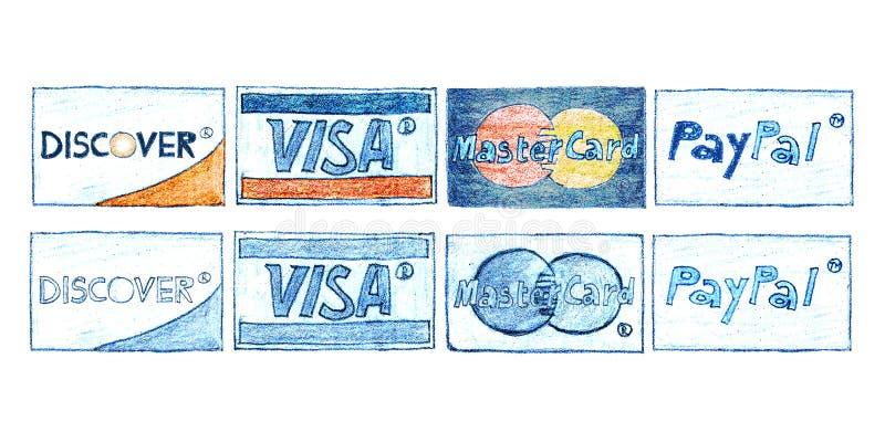 Hand-drog kreditkortar royaltyfri illustrationer
