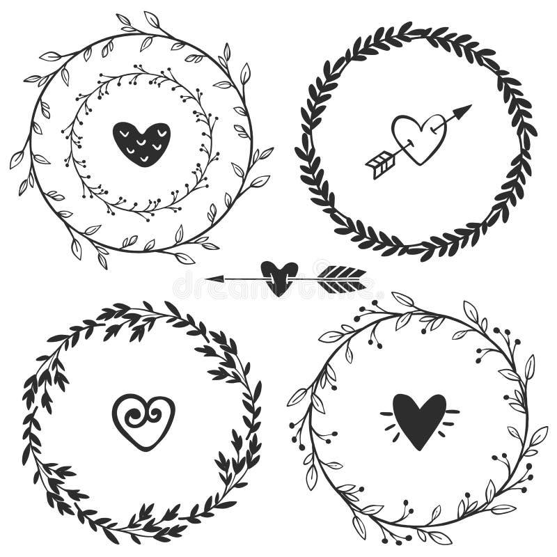 Hand drog lantliga tappningkransar med hjärtor Blom- vektor vektor illustrationer