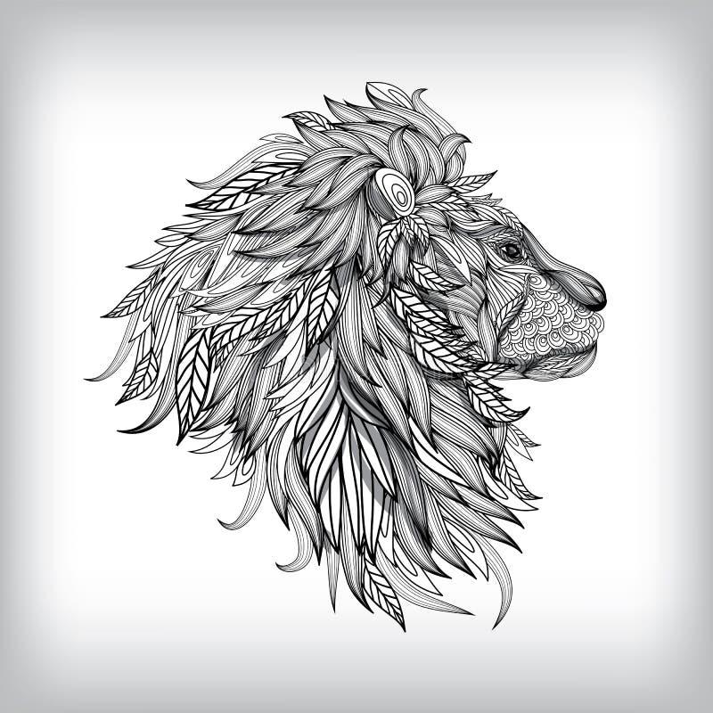 Hand drog Lion Illustration royaltyfri illustrationer