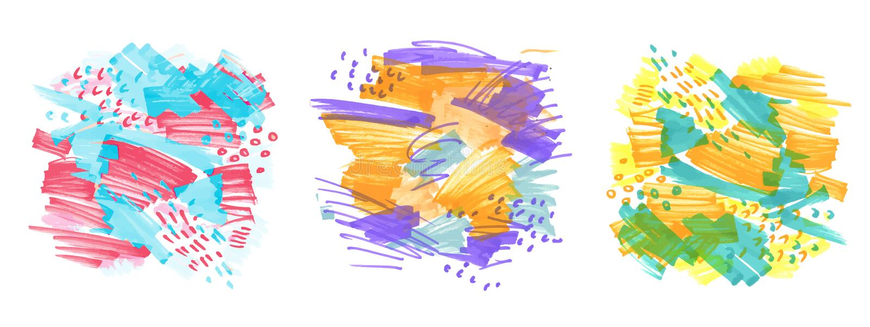 Hand-drog markörfläckar stock illustrationer