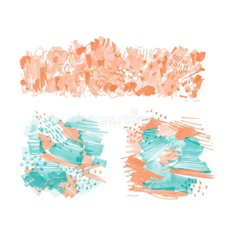 Hand-drog markörfläckar vektor illustrationer