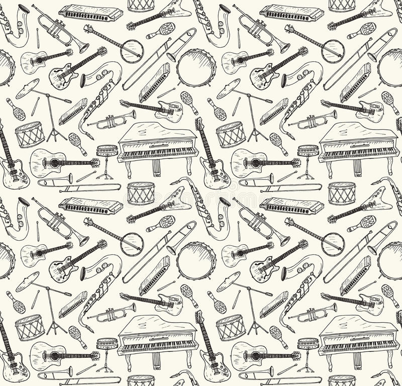Hand drog musikinstrument vektor illustrationer