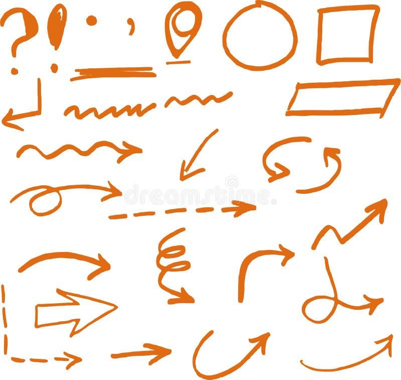Hand drog orange pilcirklar och abstrakt klotter arkivbild