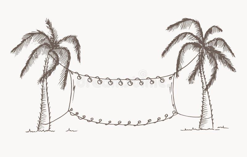 Hand drog palmträd Vektor redigerbar bild stock illustrationer