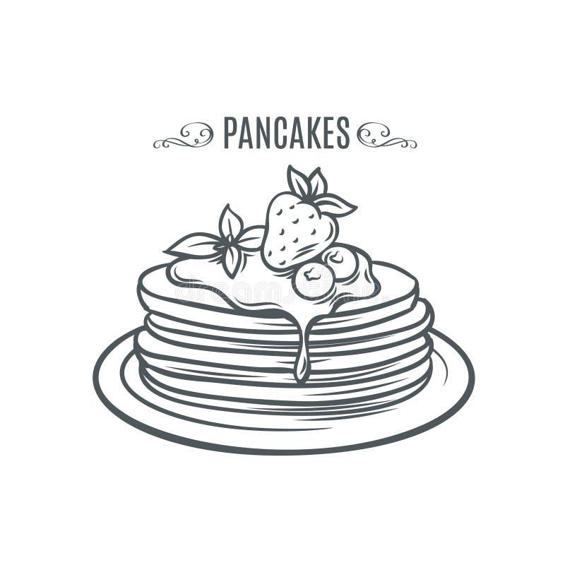 Hand drog pannkakor med jordgubbar och sirap stock illustrationer