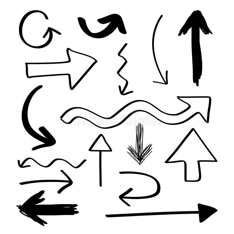 Hand drog pilar vektor illustrationer