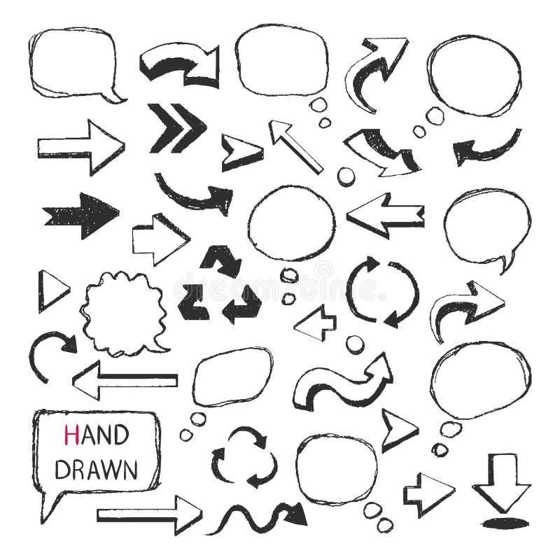 Hand drog pilar, anförandebubblor vektor illustrationer