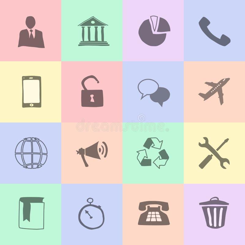 Hand drog plana symboler stock illustrationer