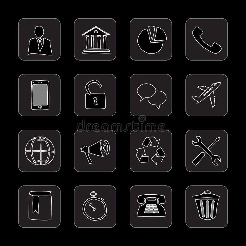 Hand drog plana symboler royaltyfri illustrationer