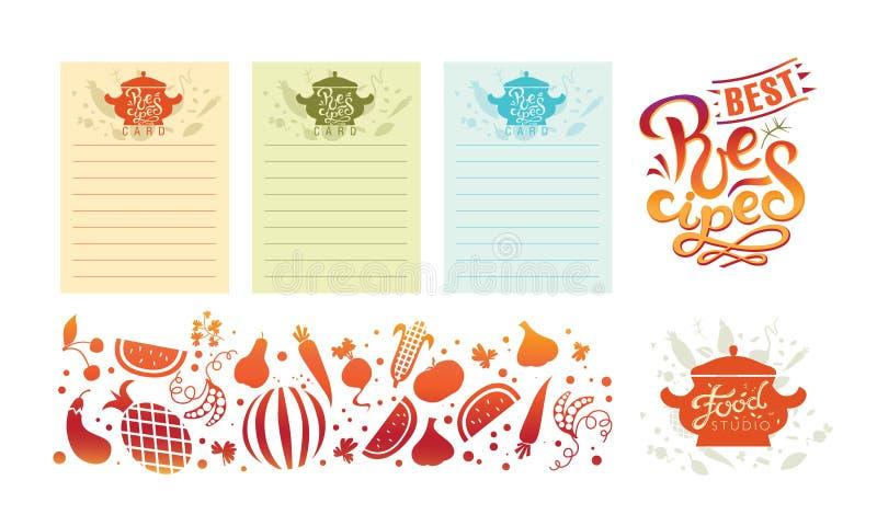 Hand-drog recept vektor Kort för receptbok Illustration av en terrin med textrecept royaltyfri illustrationer