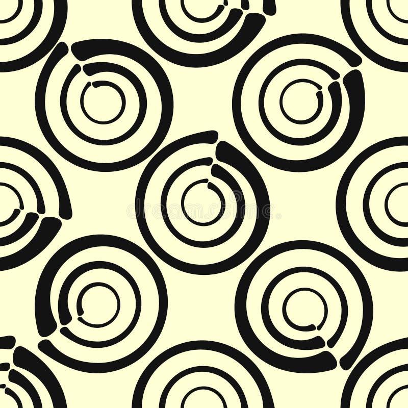 Hand-drog sömlösa cirklar för vektorabstrakt begreppbakgrund vektor illustrationer