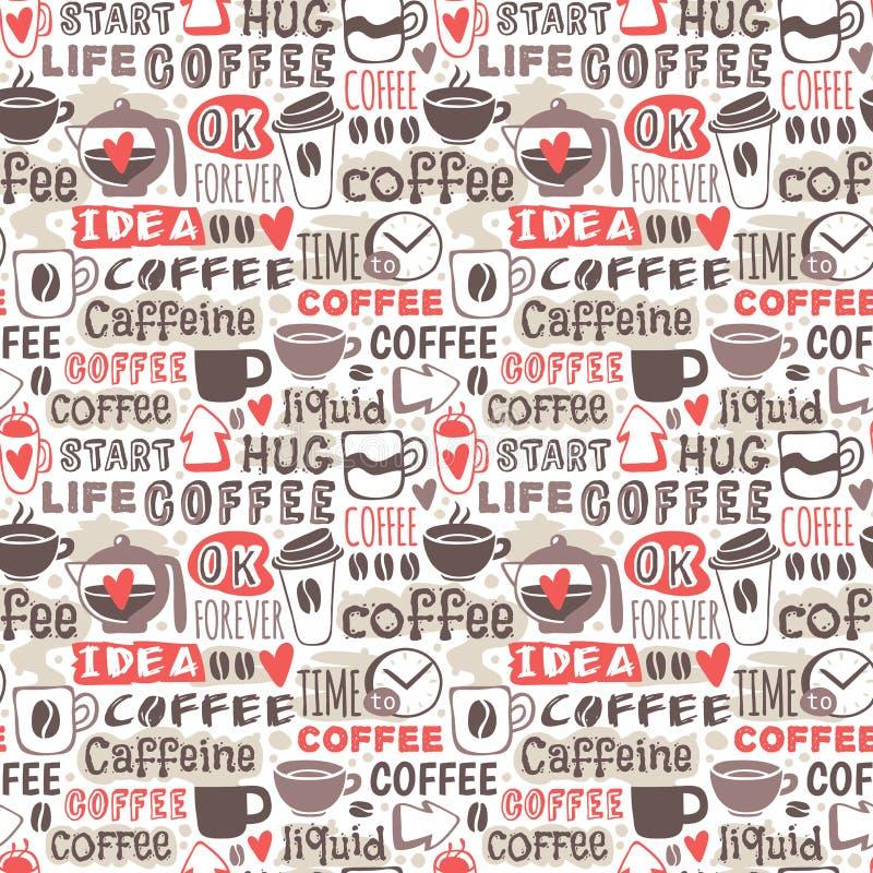 Hand drog sömlösa modeller för kaffeemblemvektor vektor illustrationer