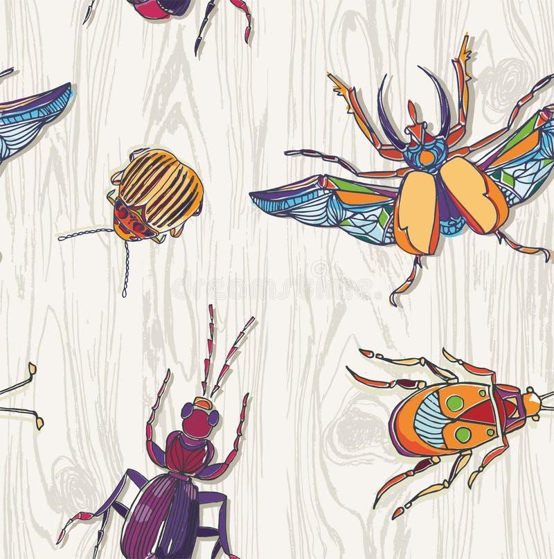 Hand drog skalbaggar på träbakgrund seamless modell Insec royaltyfri illustrationer