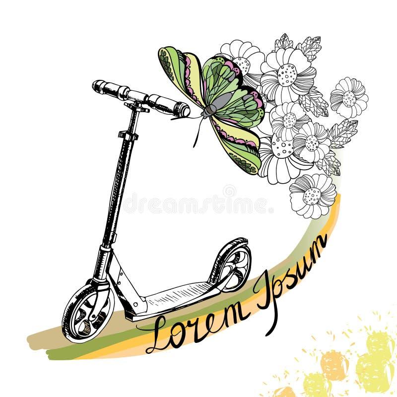 Hand drog sparksparkcykel, fjäril och blommor med text på whit stock illustrationer