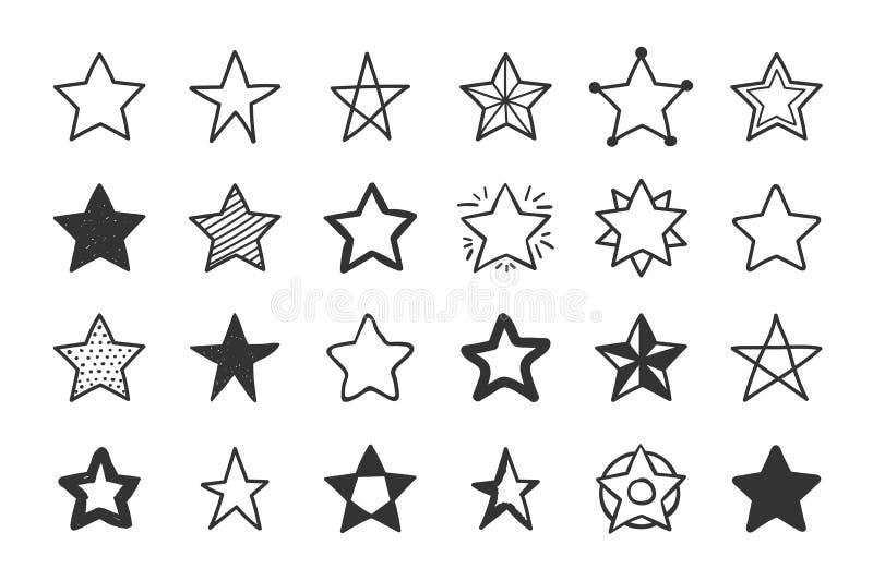 Hand drog stjärnor royaltyfri illustrationer
