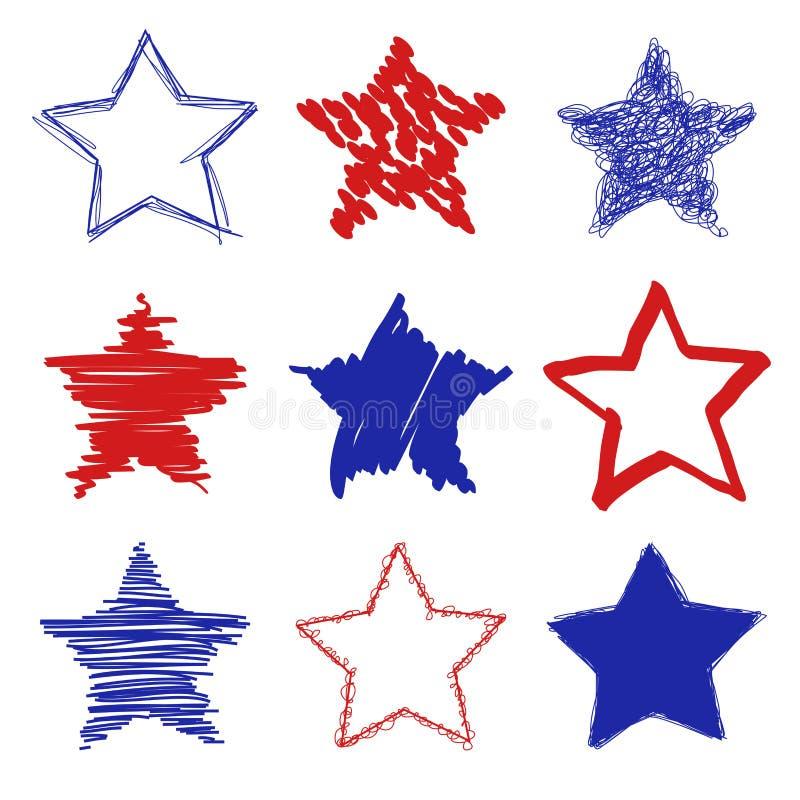 Hand drog stjärnor vektor illustrationer