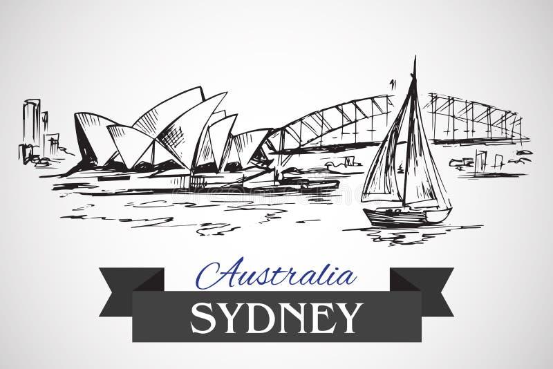 Hand drog Sydney Opera House och Sydney Harbour Bridge vektor illustrationer