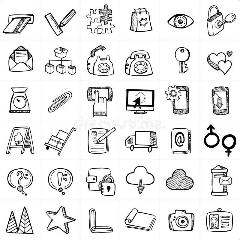 Hand drog symboler 005 vektor illustrationer