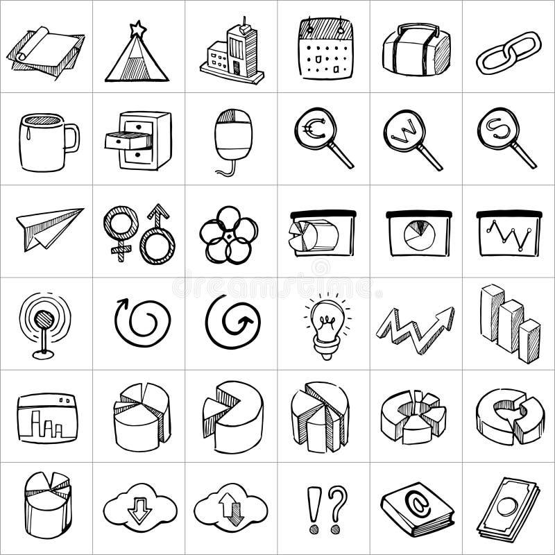 Hand drog symboler 006 vektor illustrationer