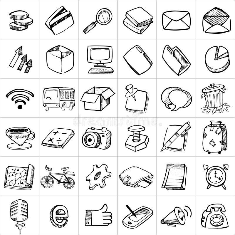 Hand drog symboler 003 royaltyfri illustrationer