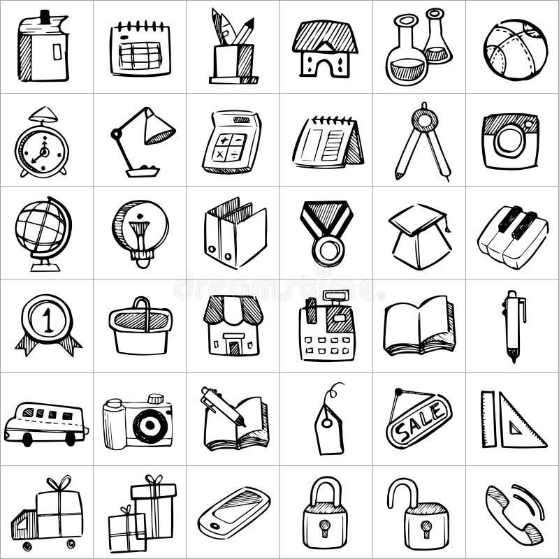 Hand drog symboler 002 royaltyfri illustrationer