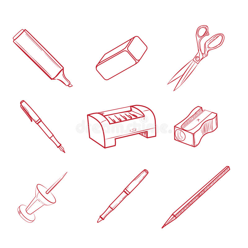 Hand-drog symboler för kontorsutrustning stock illustrationer