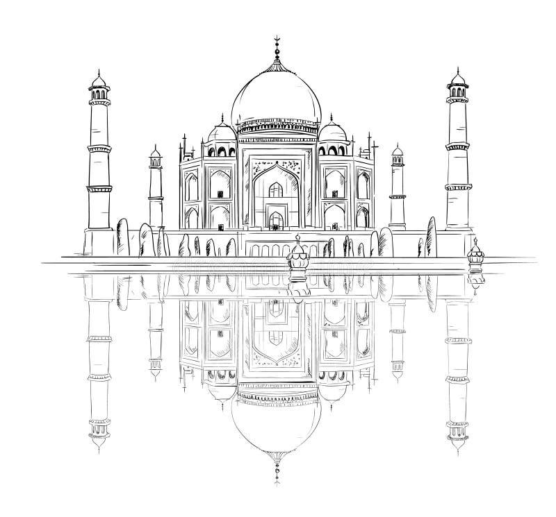 Hand drog Taj Mahal med reflexion vektor illustrationer