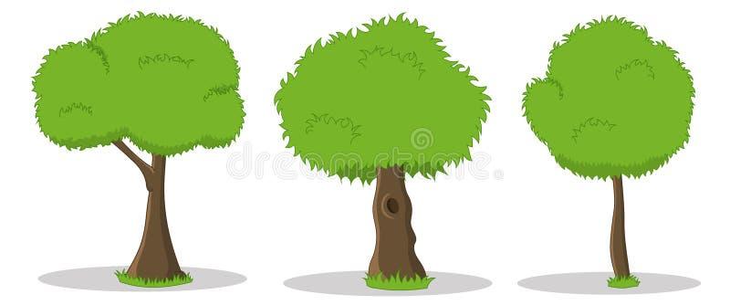 Hand drog tecknad filmillustrationer av gröna träd stock illustrationer