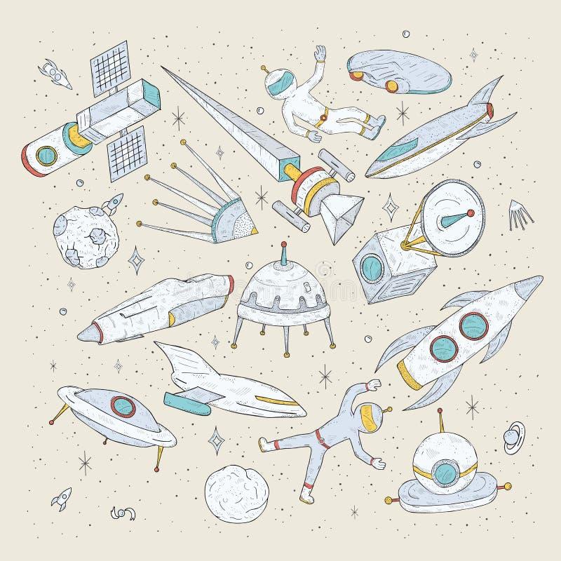 Hand drog tecknad filmutrymmeplaneter, anslutningar, raket, satelliter, kosmonaut och andra beståndsdelar Uppsättningen klottrar  royaltyfri illustrationer